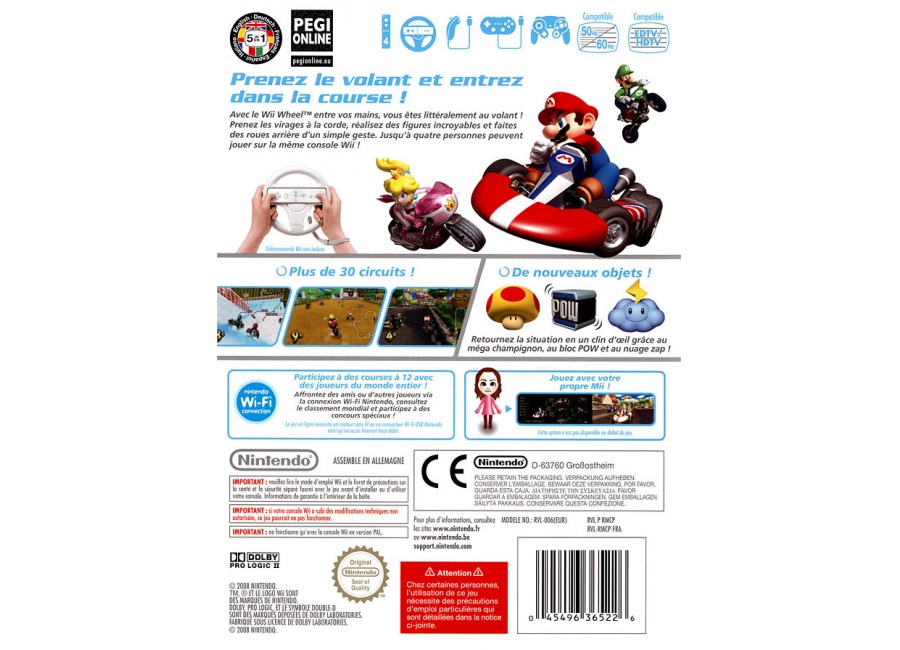 jeux vid o mario kart wii avec volant wii d 39 occasion. Black Bedroom Furniture Sets. Home Design Ideas