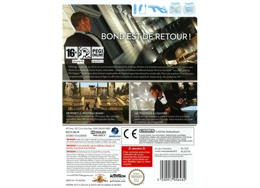 jeux vid o 007 quantum of solace wii d 39 occasion. Black Bedroom Furniture Sets. Home Design Ideas
