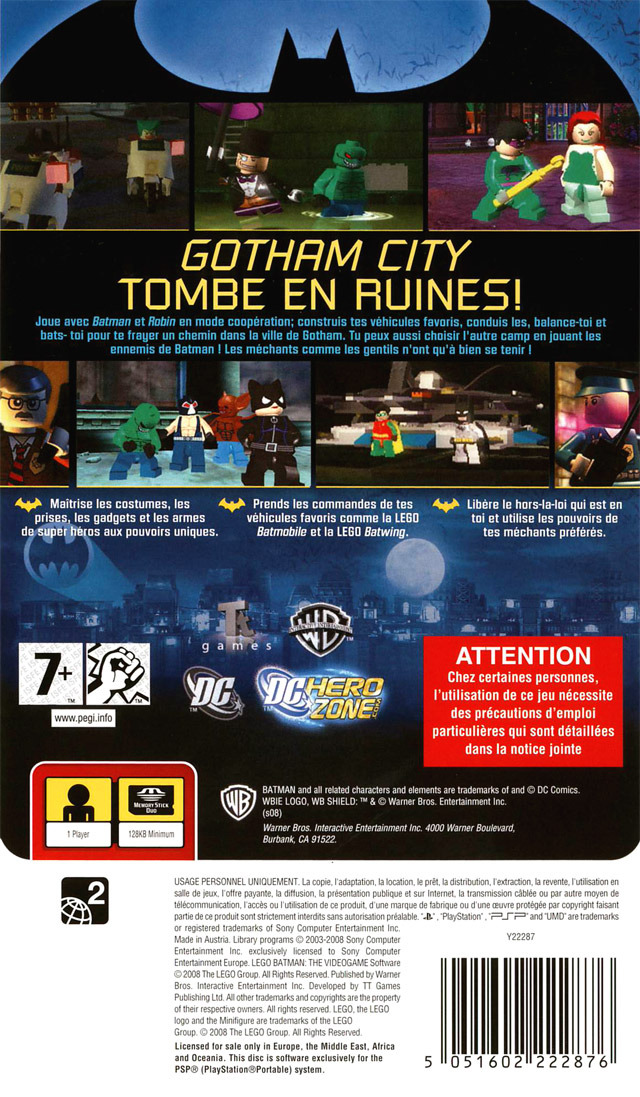 Jeux vid o lego batman le jeu video playstation portable psp d 39 occasion - Jeux lego batman gratuit ...