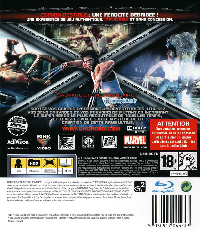 jeux vid o x men origins wolverine playstation 3 ps3 d 39 occasion. Black Bedroom Furniture Sets. Home Design Ideas