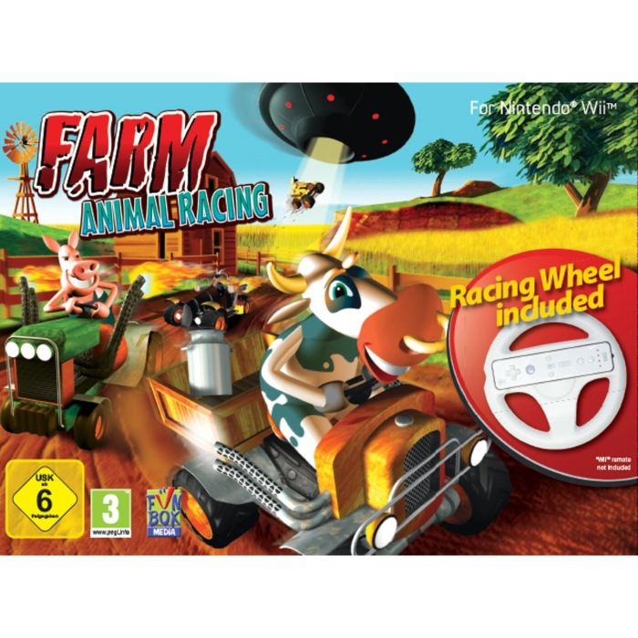 jeux vid o farm animal racing volant wii d 39 occasion. Black Bedroom Furniture Sets. Home Design Ideas