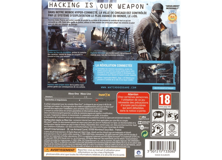 jeux vid o watch dogs xbox one d 39 occasion. Black Bedroom Furniture Sets. Home Design Ideas