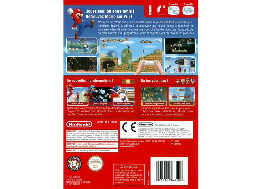 jeux vid o new super mario bros wii wii d 39 occasion. Black Bedroom Furniture Sets. Home Design Ideas