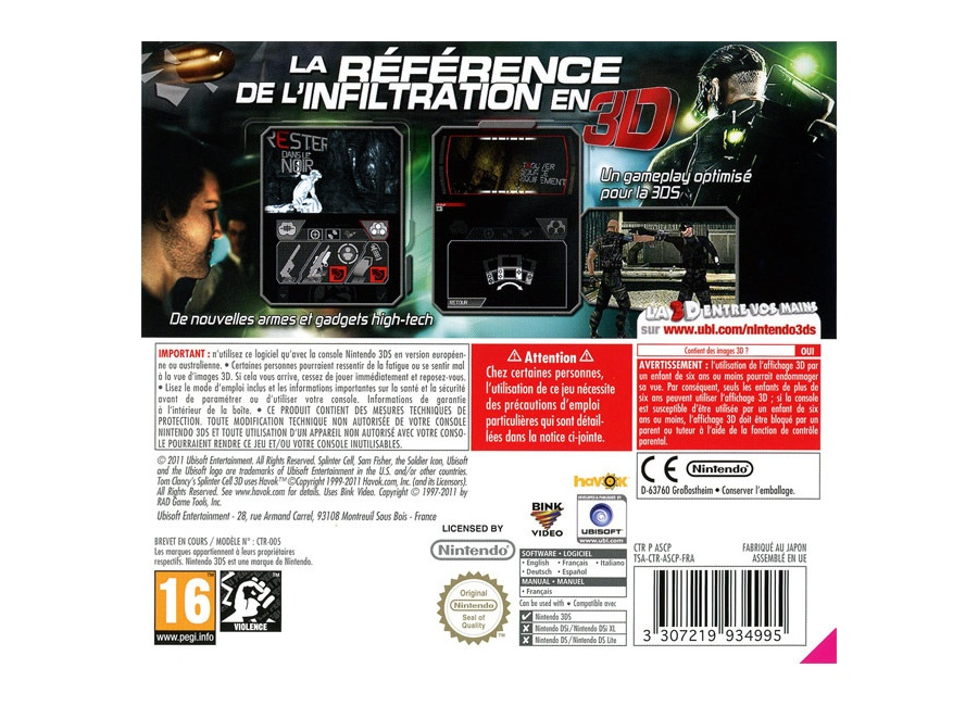 jeux vid o splinter cell 3d 3ds d 39 occasion. Black Bedroom Furniture Sets. Home Design Ideas