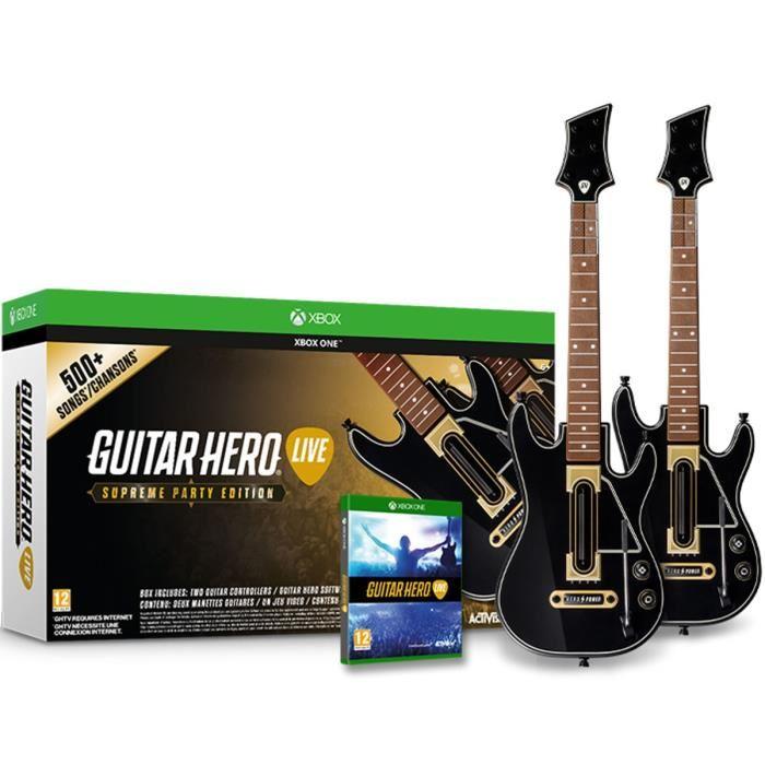 jeux vid o guitar hero live bundle avec deux guitares xbox one d 39 occasion. Black Bedroom Furniture Sets. Home Design Ideas